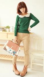 日系可爱小圆领,绿色针织衫