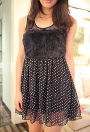 日本原单兔毛拼接高品质雪纺连衣裙