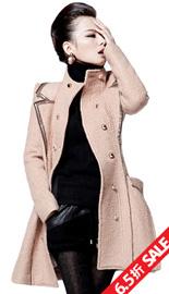 【原价597 疯抢价388】皮包边中长款大衣 立领修身毛呢大衣女
