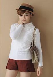 CICI-SHOP秋冬新款 日系波浪图案毛织古蕾丝领针织衫975