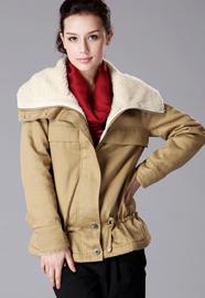 帅气大翻领羊羔毛内里棉衣外套