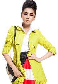 SS【IAIZO高端】 欧美风 苹果绿女士长款修身系带风衣11P30011