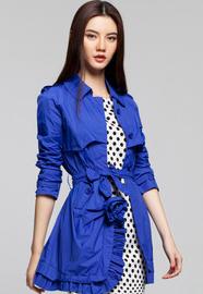SS【IAIZO高端】 欧美风 宝蓝色女士长款修身系带风衣11P30011
