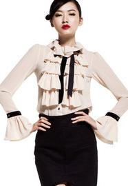 SS IAIZO高端 欧美风 波浪层雪纺衫 2011新款秋装 工艺 11R10002